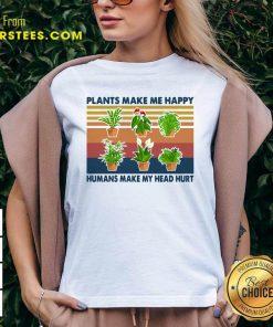 Gardening Plants Make Me Happy Humans Make My Head Hurt Vintage Retro V-neck - Design By Earstees.com