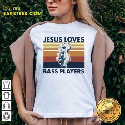 Guitar Jesus Loves Bass Players Vintage V-neck - Design By Earstees.com