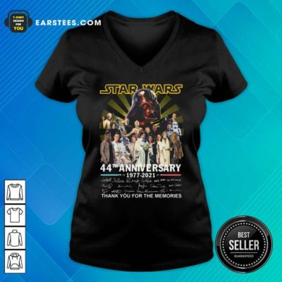 Star Wars 44th Anniversary 1977 2021 Thank You For The Memories Signuature V-neck - Design By Earstees.com