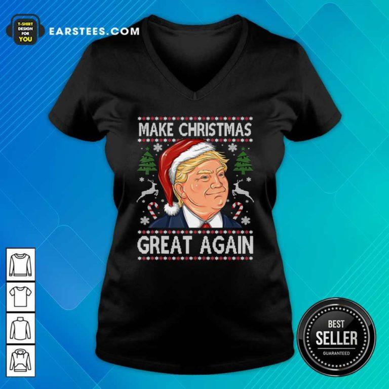Trump Make Christmas Great Again Christmas V-neck - Design By Earstees.com