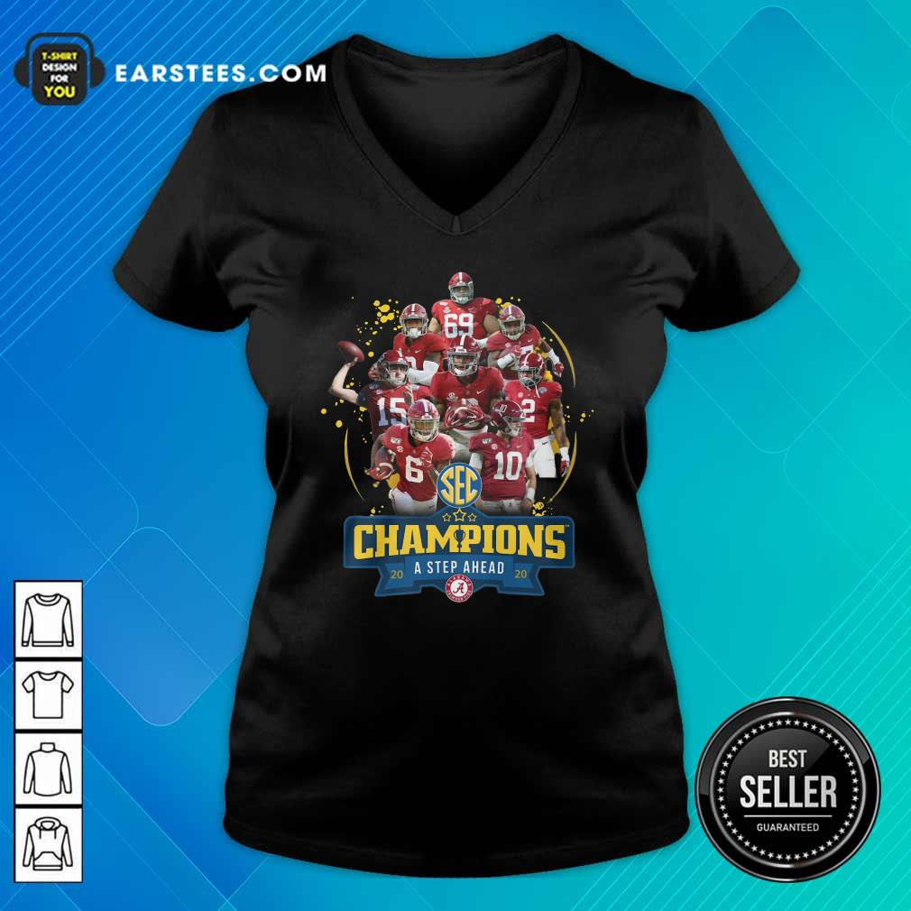Alabama Crimson Tide Champions A Step Ahead 2020 V-neck - Design By Earstees.com
