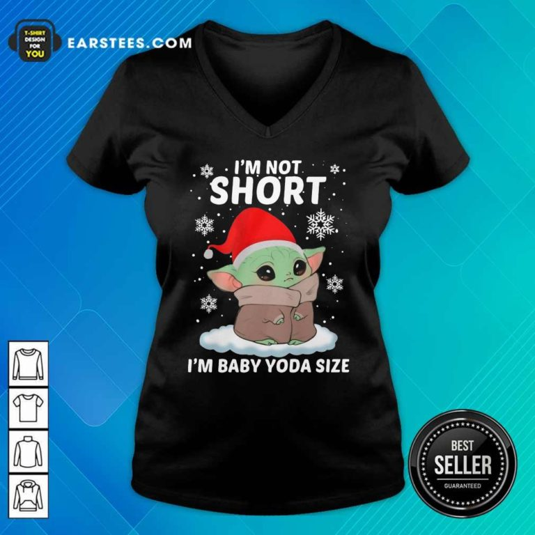 Baby Yoda Santa I'm Not Short I'm Baby Yoda Size Merry Christmas V-neck - Design By Earstees.com