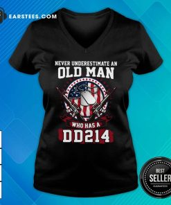 Never Underestimate Old Man Who Has A DD214 V-neck - Design By Earstees.com