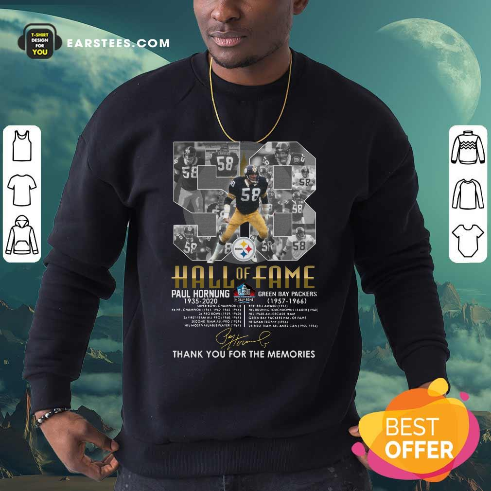 Hall Of Fame 58 Paul Hornung 1935 2020 Thank You For The Memories Signature Sweatshirt - Design By Earstees.com