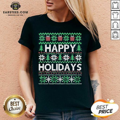 Top Happy Holidays Ugly Christmas V-neck - Design By Earstees.com