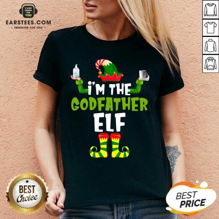 Top Im The Godfather Elf Quarantine Matching Christmas V-neck - Design By Earstees.com