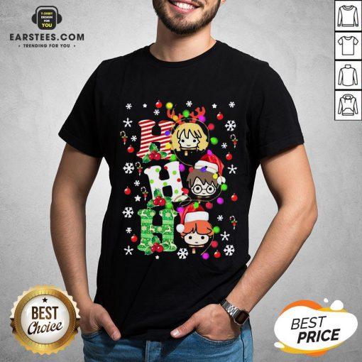 Top Reindeer Santa Claus Snow Ho Ho Ho Merry Christmas Shirt- Design By Earstees.com
