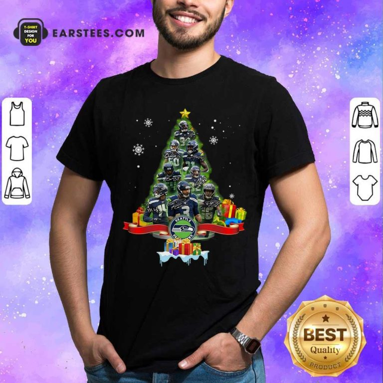 Seattle Seahawks Player Signatures Christmas Tree Shirt - Design By Earstees.com