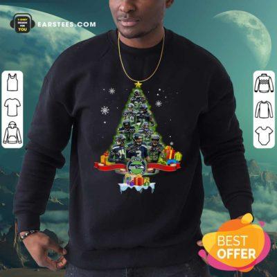 Seattle Seahawks Player Signatures Christmas Tree Sweatshirt - Design By Earstees.com
