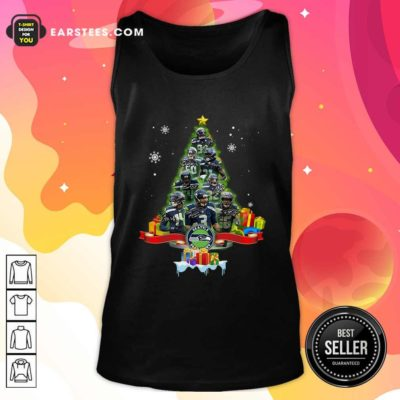Seattle Seahawks Player Signatures Christmas Tree Tank Top - Design By Earstees.com