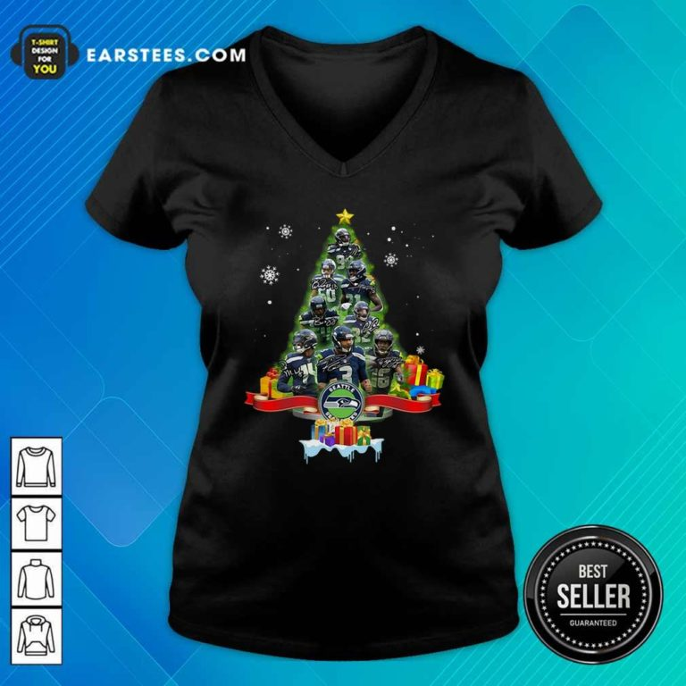 Seattle Seahawks Player Signatures Christmas Tree V-neck - Design By Earstees.com