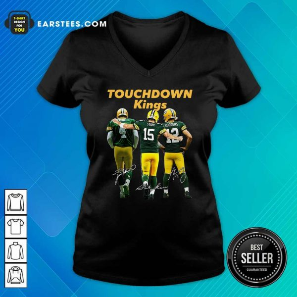 Green Bay Packers Touchdown Kings Brett Favre 4 Bart Starr 15 Aaron Rodgers 12 Signatures V-neck- Design By Earstees.com