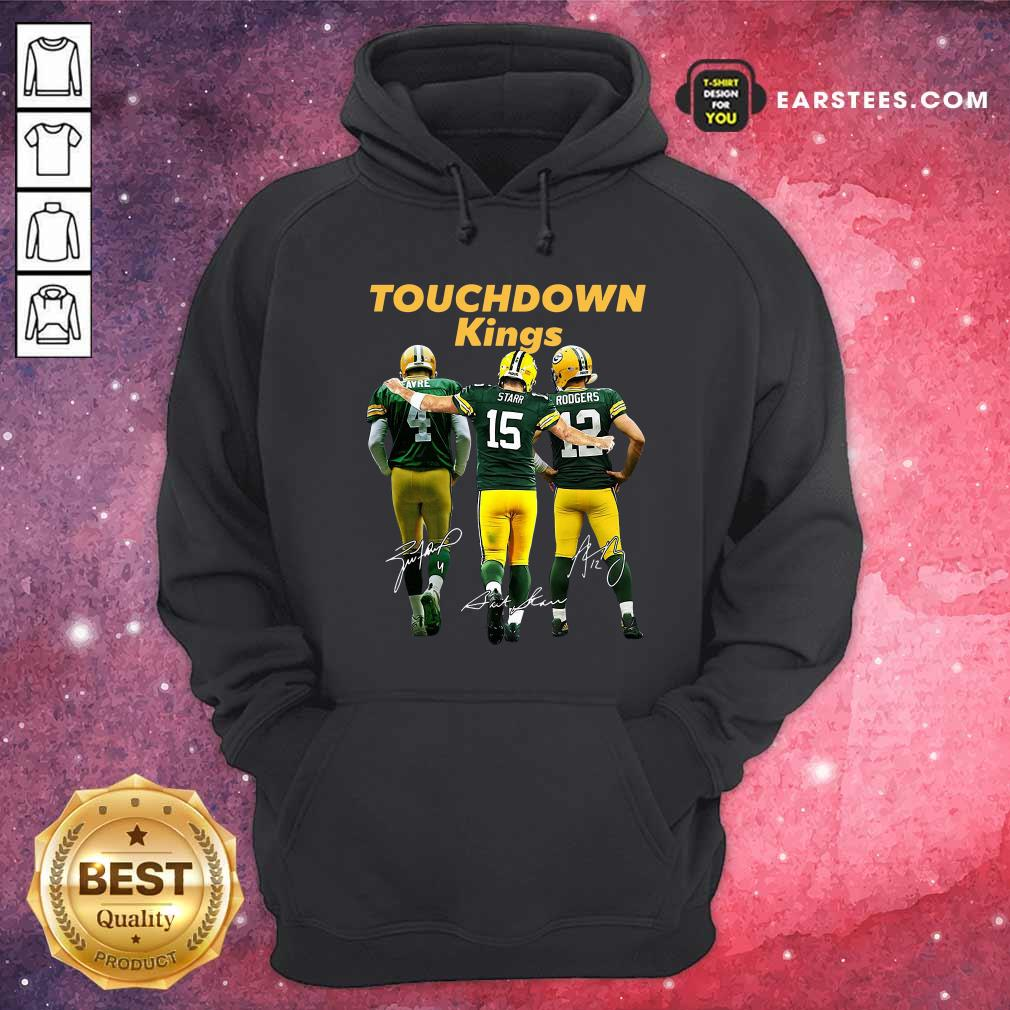 Green Bay Packers Touchdown Kings Brett Favre 4 Bart Starr 15 Aaron Rodgers 12 Signatures Hoodie- Design By Earstees.com