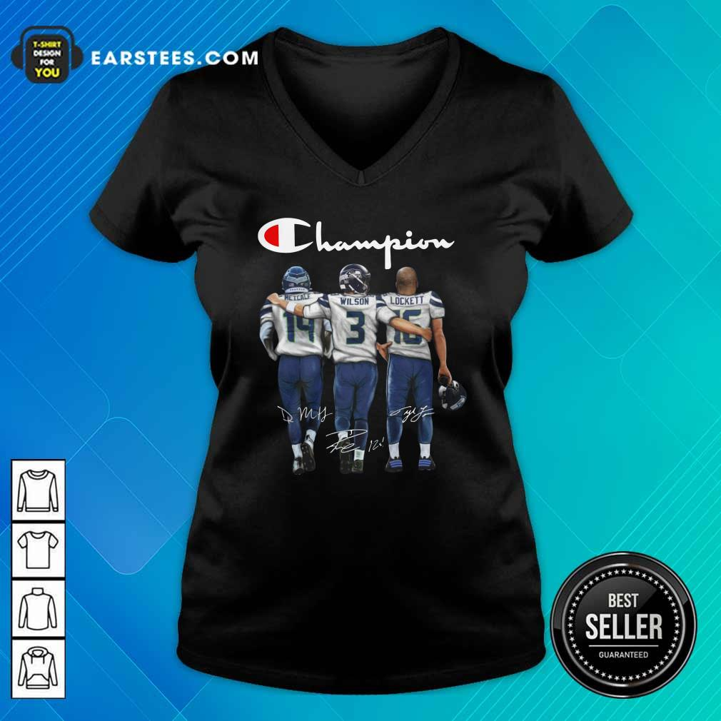 Seattle Seahawks Champions Dk Metcalf 14 Russell Wilson 3 Tyler Lockett 16 Signatures V-neck- Design By Earstees.com