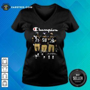 Pittsburgh Steelers Champions Joe Greene 75 Jack Lambert 58 Terry Bradshaw 12 Signatures V-neck- Design By Earstees.com