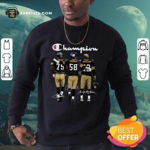 Pittsburgh Steelers Champions Joe Greene 75 Jack Lambert 58 Terry Bradshaw 12 Signatures Sweatshirt- Design By Earstees.com