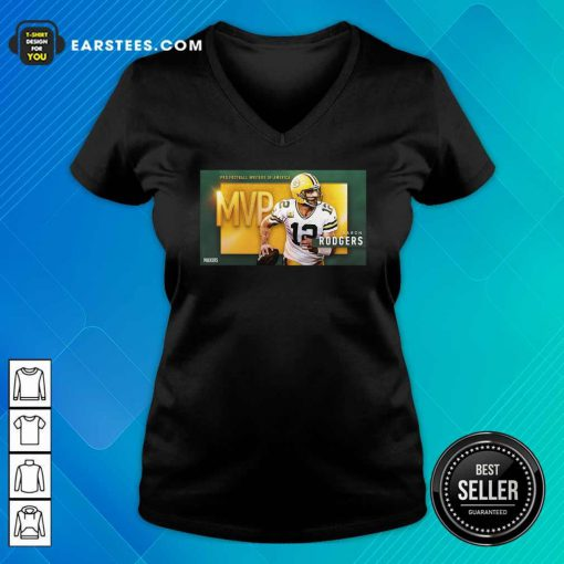 Aaron Rodgers Mvp Pro Football Writers Of America 2021 V-neck- Design By Earstees.com