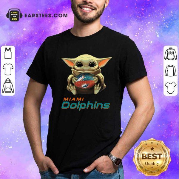 Baby Yoda Hug Miami Dolphins Football Shirt - Design By Earstees.com