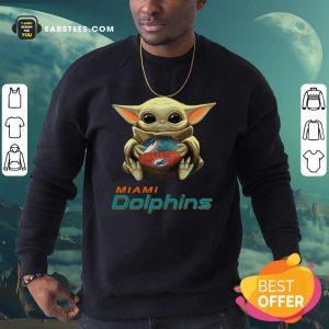 Awesome Baby Yoda Hug Miami Dolphins Football Sweatshirt - Design By Earstees.com