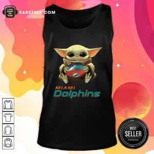Baby Yoda Hug Miami Dolphins Football Tank Top - Design By Earstees.com