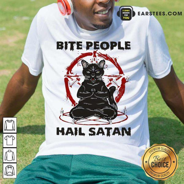 Black Cat Bite People Hail Satan Shirt- Design By Earstees.com