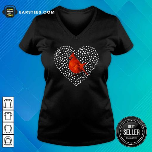 Cardinal Heart Personalized V-neck- Design By Earstees.com
