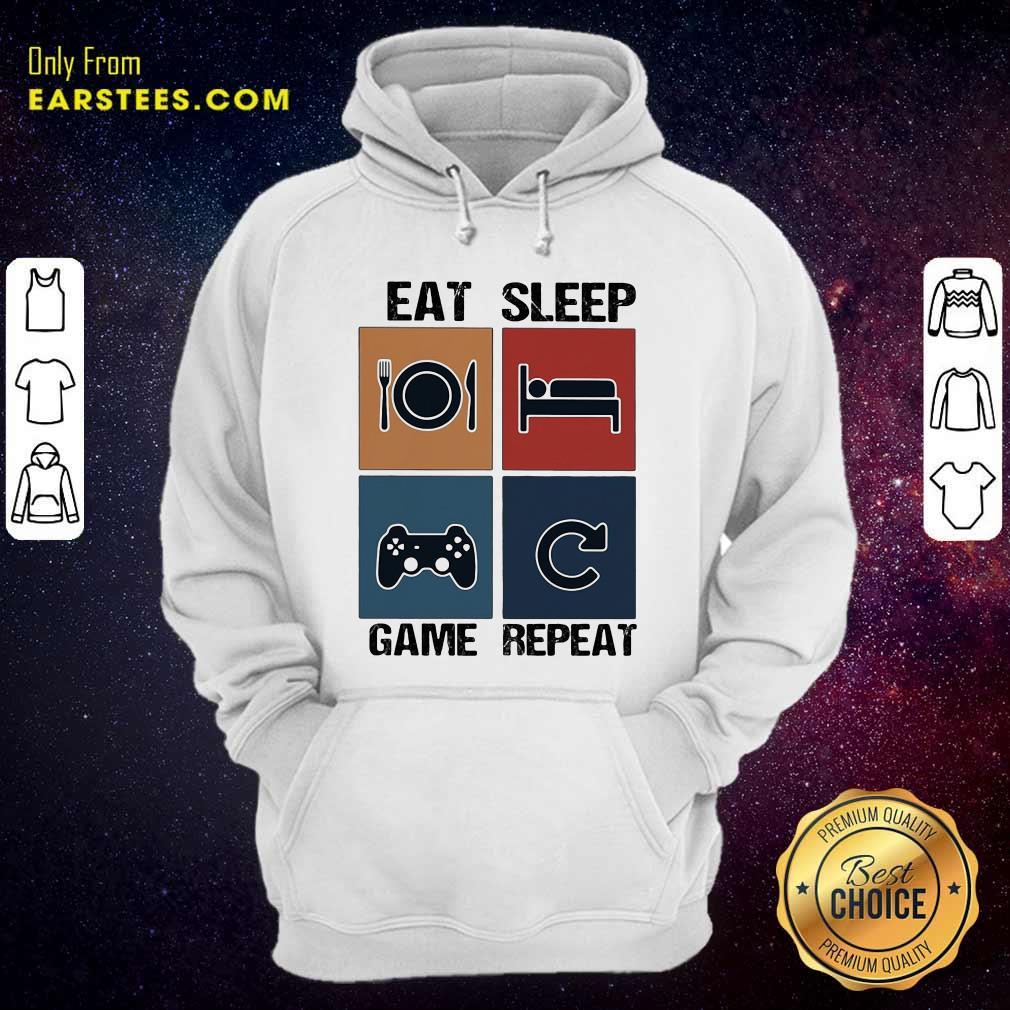 Eat Sleep Game Repeat Vintage Hoodie - Design By Earstees.com
