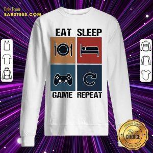 Eat Sleep Game Repeat Vintage Sweatshirt - Design By Earstees.com