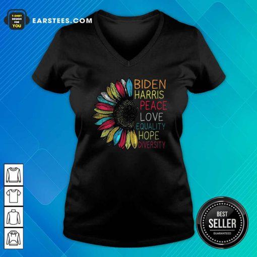 Peace Love Equality Hope Diversity Biden Harris 2020-2024 V-neck- Design By Earstees.com