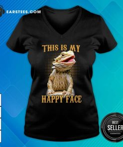Pogona This Is My Happy Face V-neck- Design By Earstees.com