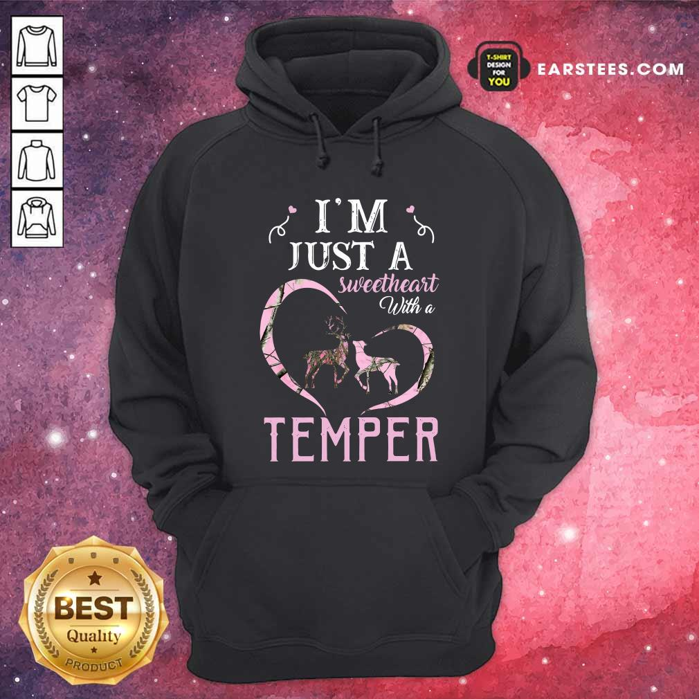 Reindeer Im Just A Sweetheart With A Temper Wallpaper Hoodie- Design By Earstees.com