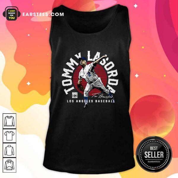 Tommy Lasorda Los Angeles Baseball Signature Tank Top- Design By Earstees.com