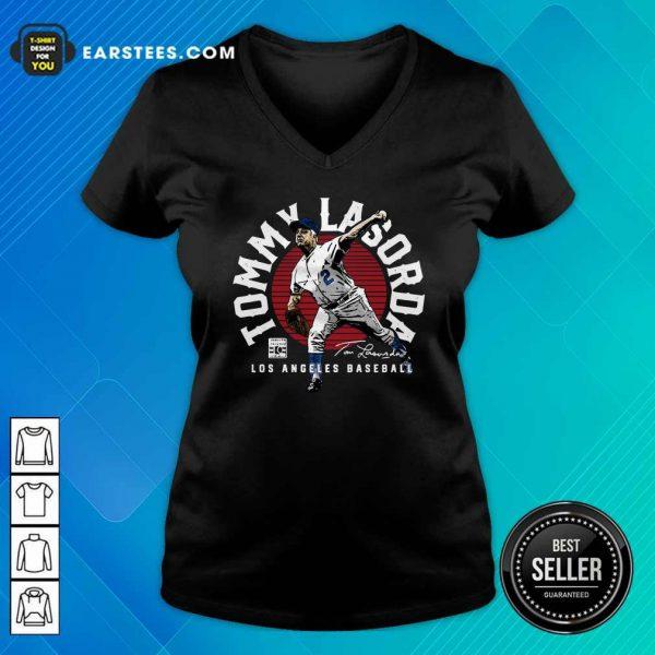 Tommy Lasorda Los Angeles Baseball Signature V-neck- Design By Earstees.com