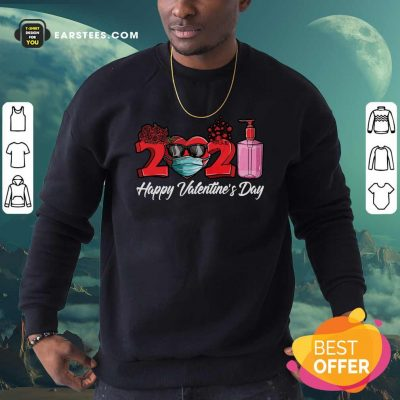 2021 Face Mask Happy Valentines Day Sweatshirt- Design By Earstees.com