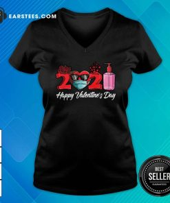 2021 Face Mask Happy Valentines Day V-neck- Design By Earstees.com