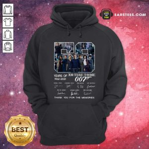 59 Years Of No Time To Die 007 1962 2021 Thank You For The Memories Signatures Hoodie- Design By Earstees.com
