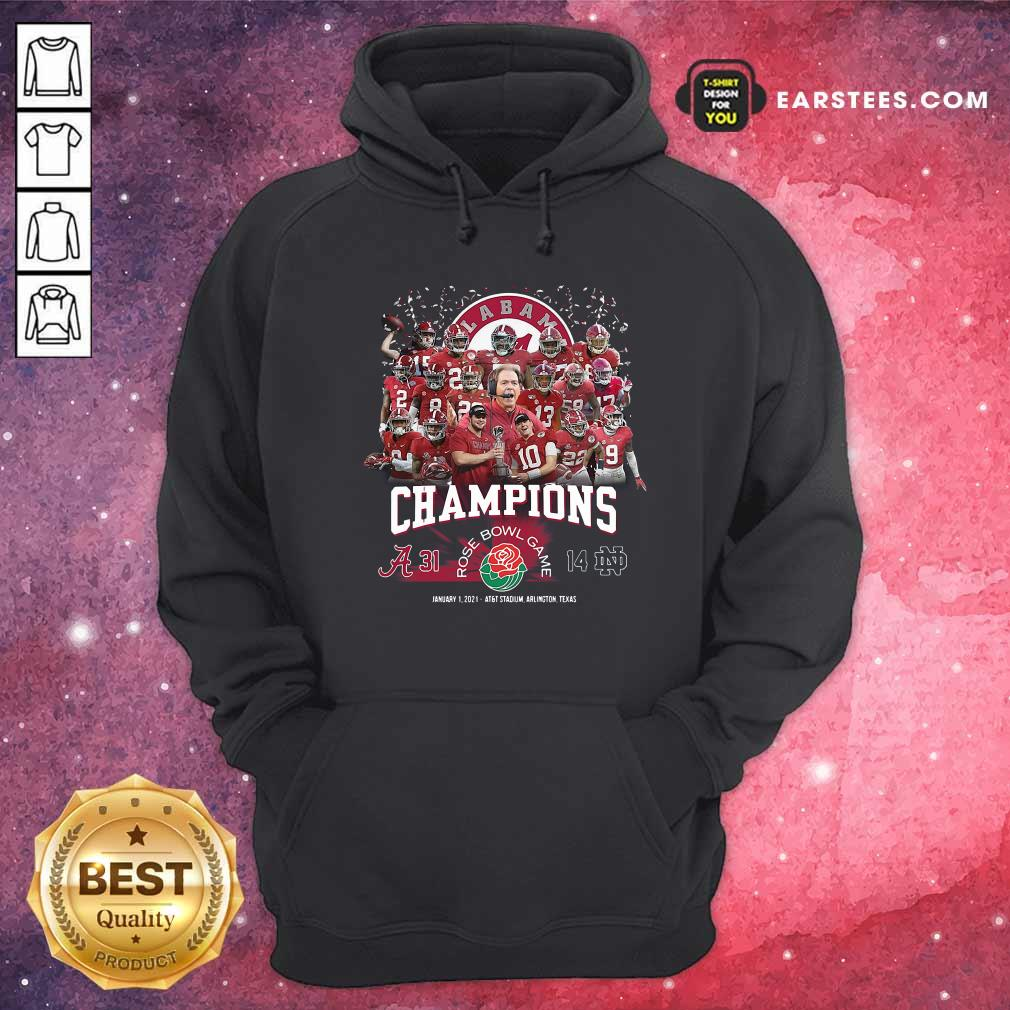 Alabama Crimson Tide Football Champions Rose Bowl Game Hoodie - Design By Earstees.com