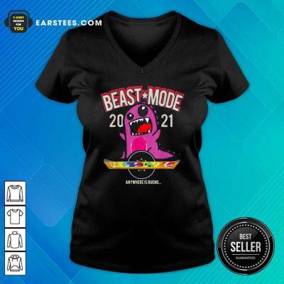 Beast Mode 2021 Floating V-neck- Design By Earstees.com