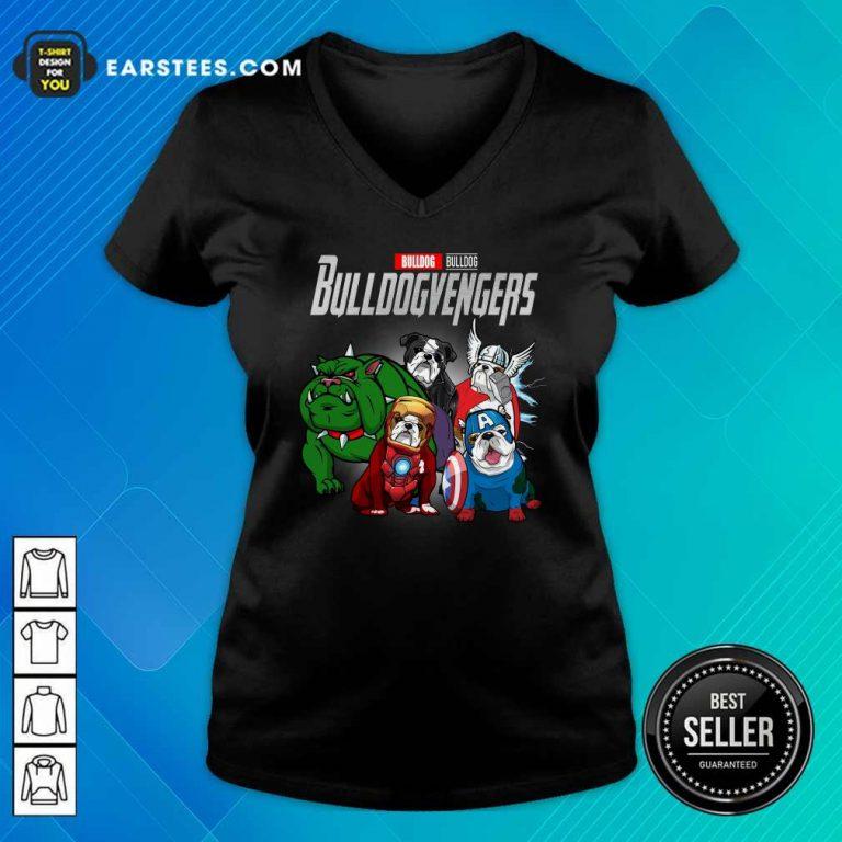 Marvel Avengers Bulldog Bullvengers V-neck- Design By Earstees.com