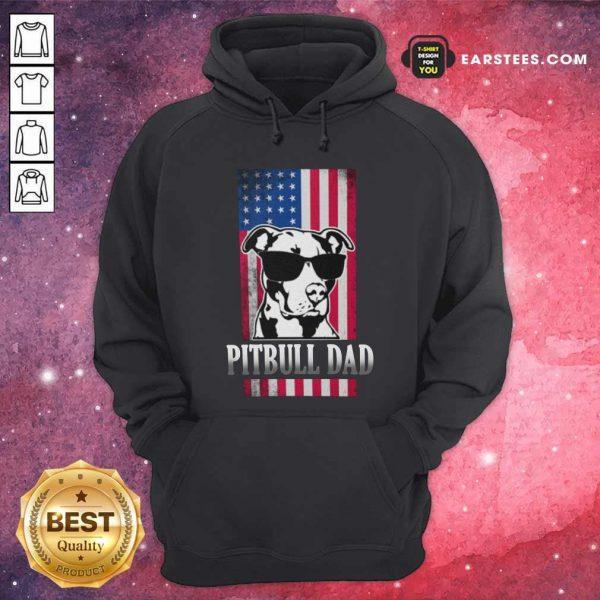 Pitbull Dad American Flag Hoodie- Design By Earstees.com