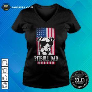 Pitbull Dad American Flag V-neck- Design By Earstees.com