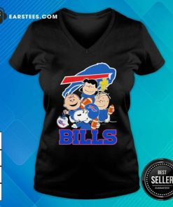 The Buffalo Bills Snoopy The Peanuts Tee Unisex V-neck- Design By Earstees.com