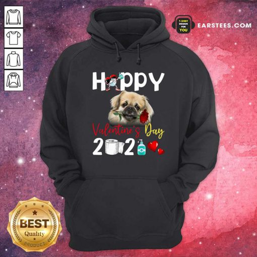 Tibetan Spaniel Happy Valentines Day With Toilet Paper 2021 Hoodie- Design By Earstees.com