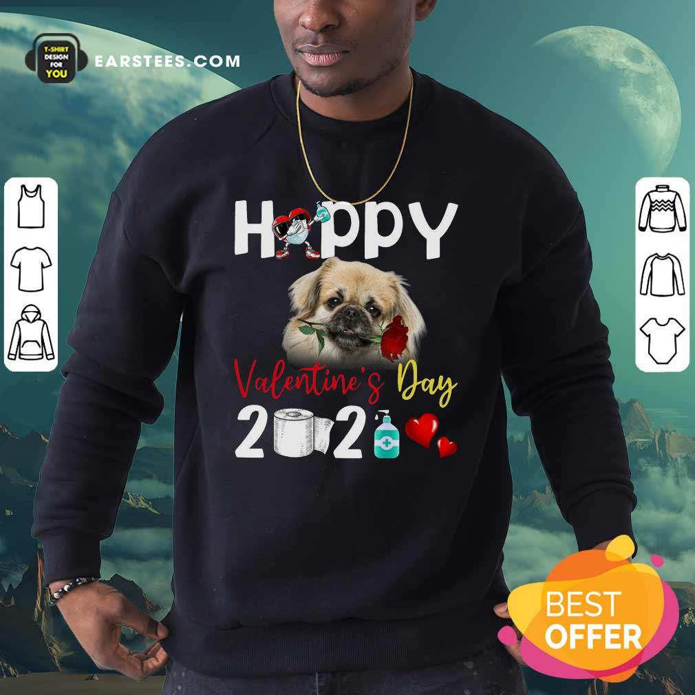Tibetan Spaniel Happy Valentines Day With Toilet Paper 2021 Sweatshirt- Design By Earstees.com