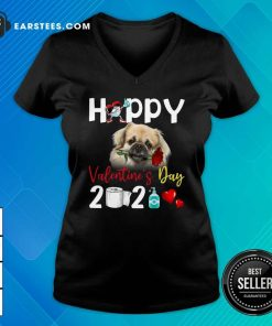 Tibetan Spaniel Happy Valentines Day With Toilet Paper 2021 V-neck- Design By Earstees.com