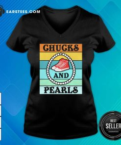 Vintage Chucks And Pearls With Kamala Harris For President 2021 V-neck- Design By Earstees.com