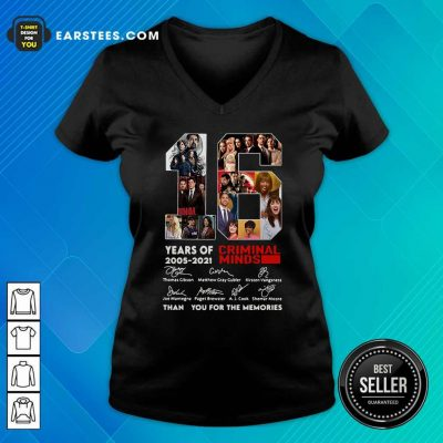 16 Years Of 2005 2021 Criminal Minds Signatures Thank You For The Memories V-neck- Design By Earstees.com
