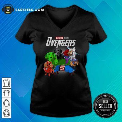 Dachshund Marvel Avengers Dvengers V-neck- Design By Earstees.com