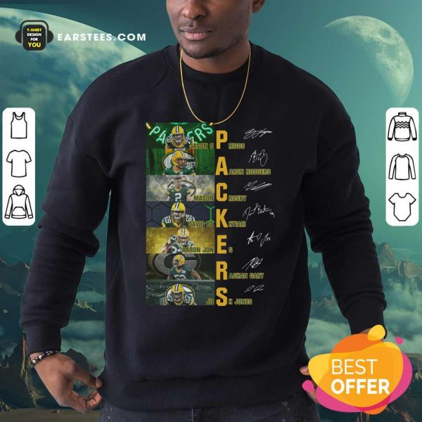 Green Bay Packers Jason Spriggs Aaron Rodgers Mason Crosby Signatures Sweatshirt - Design By Earstees.com