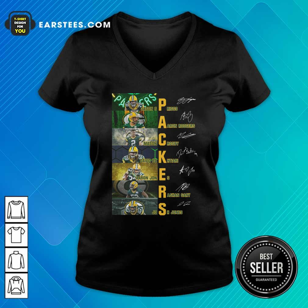 Green Bay Packers Jason Spriggs Aaron Rodgers Mason Crosby Signatures V-neck - Design By Earstees.com